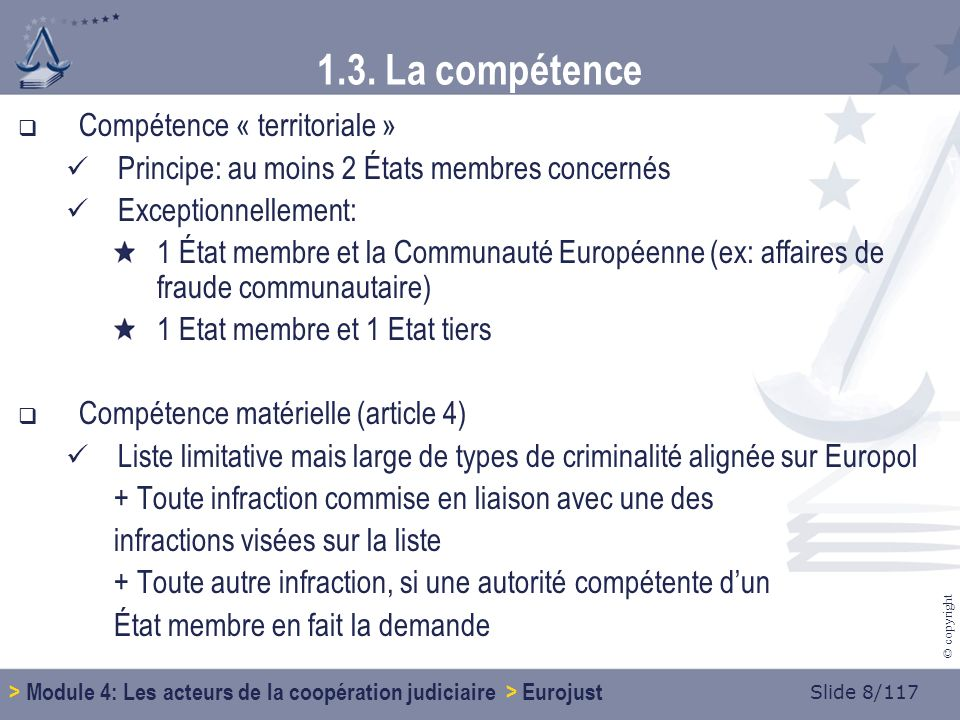 Slide 69/117 © copyright 1.9.Concrètement… Contacter Eurojust Dans quel cas.