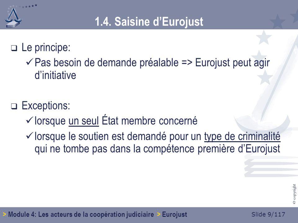 Slide 70/117 © copyright 1.9.Concrètement… Être contacté par Eurojust Comment.