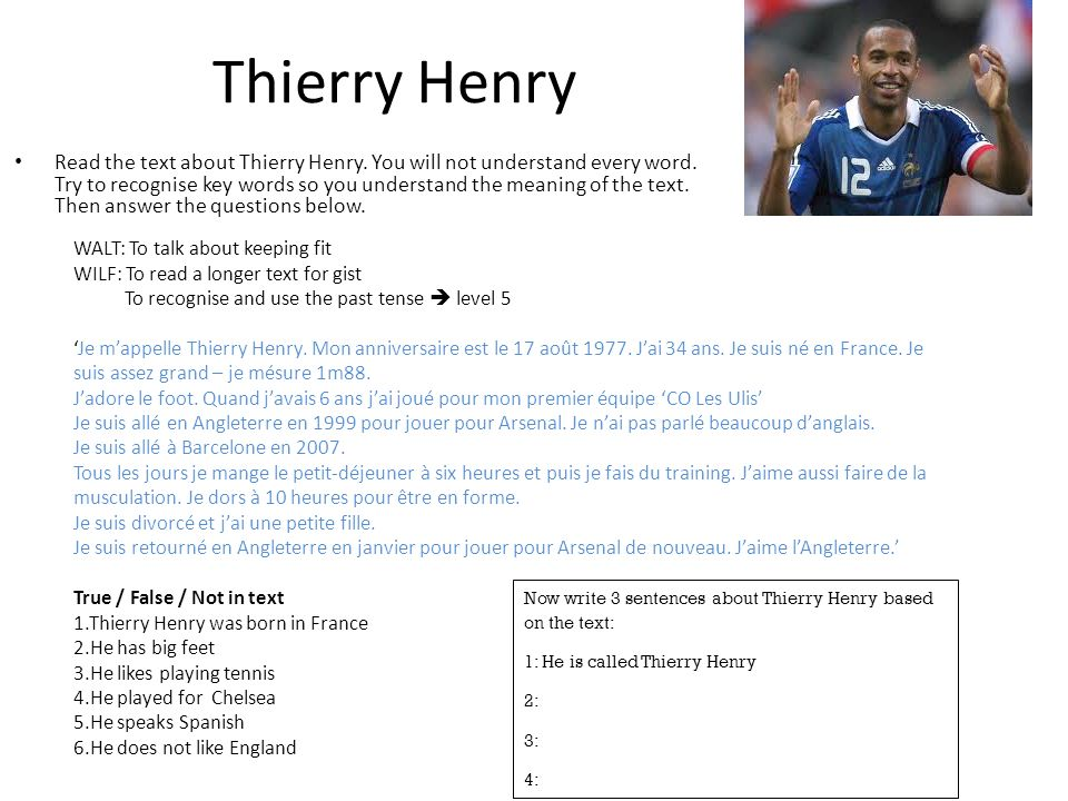Thierry Henry Read the text about Thierry Henry. You will not understand every word. Try to recognise key words so you understand the meaning of the t