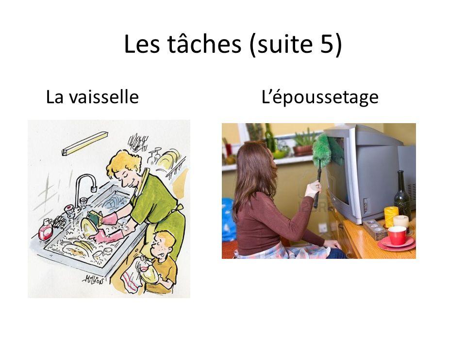Les tâches (suite 5) La vaisselleLépoussetage