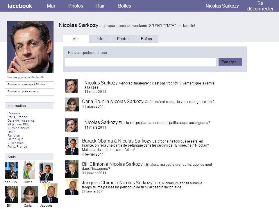 facebook Nicolas Sarkozy se prépare pour un weekend S*U*B*L*I*M*E* en famille! MurPhotosFlairBoîtesNicolas Sarkozy Se déconnecter Voir des photos de N