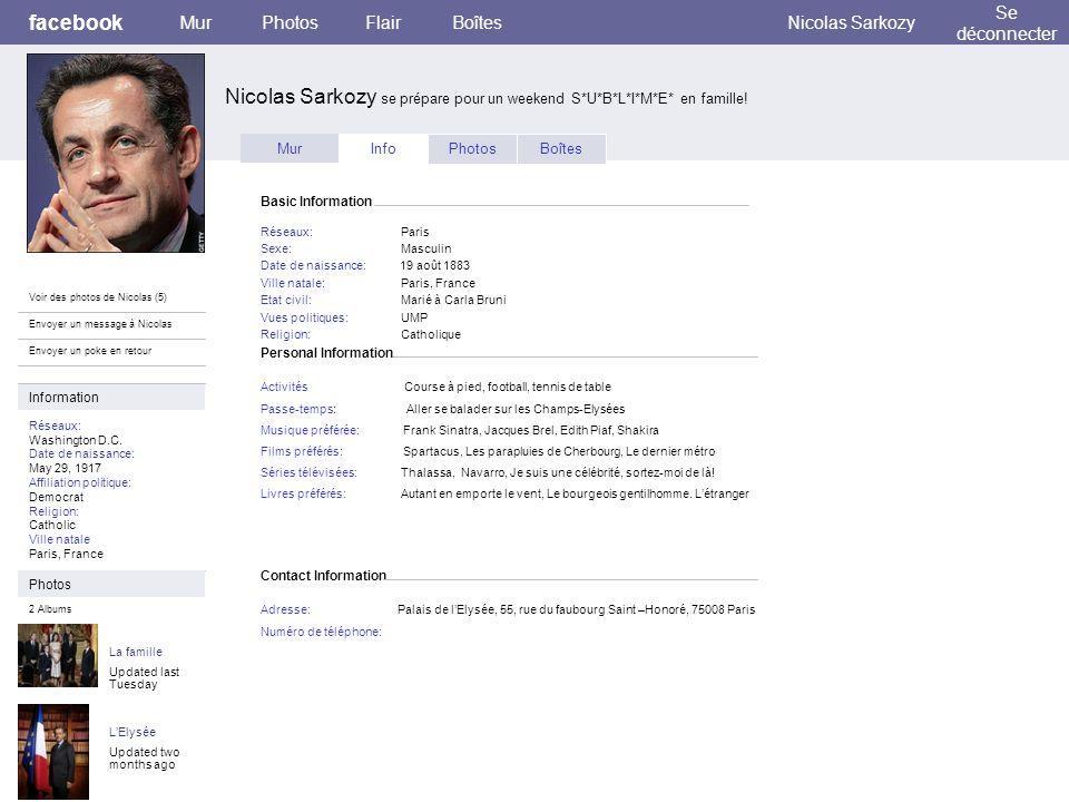 Personal Information facebook Nicolas Sarkozy se prépare pour un weekend S*U*B*L*I*M*E* en famille! MurPhotosFlairBoîtesNicolas Sarkozy Se déconnecter