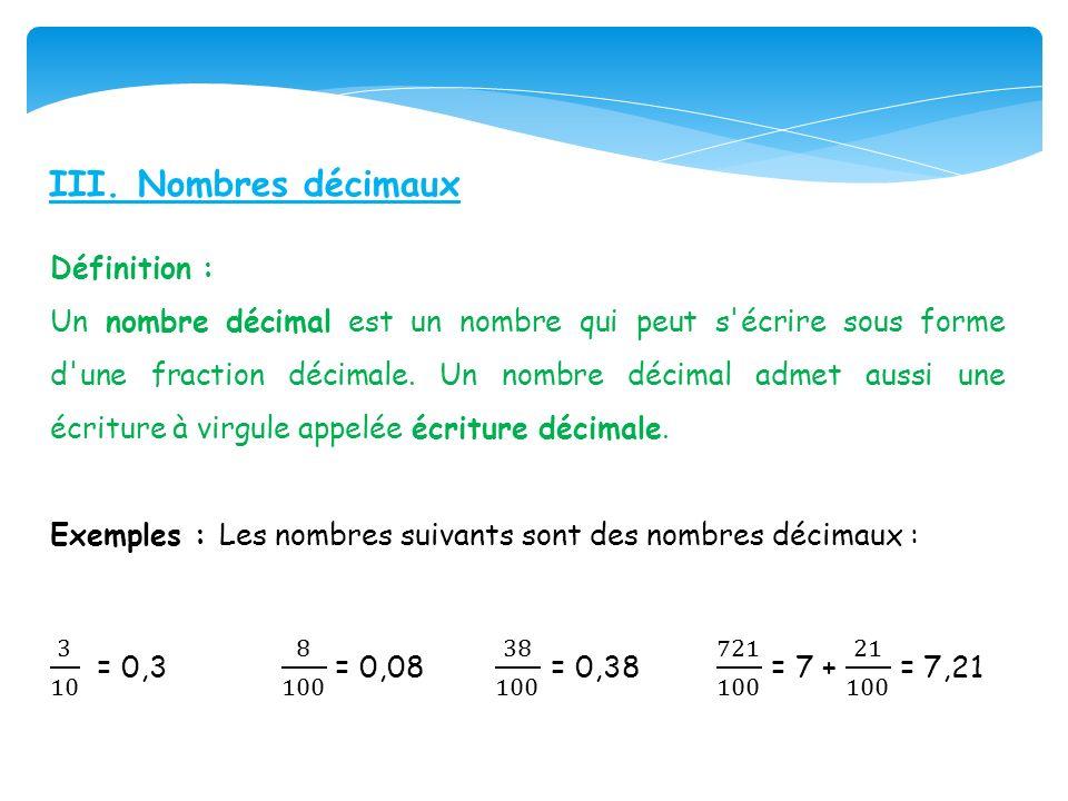 III. Nombres décimaux
