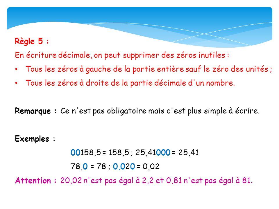 Règle 5 : En écriture décimale, on peut supprimer des zéros inutiles : Tous les zéros à gauche de la partie entière sauf le zéro des unités ; Tous les