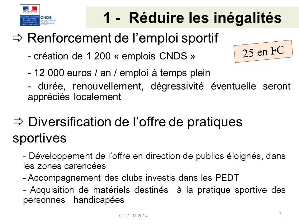 1 - Réduire les inégalités Renforcement de lemploi sportif CT 21.01.2014 - création de 1 200 « emplois CNDS » - 12 000 euros / an / emploi à temps plein - durée, renouvellement, dégressivité éventuelle seront appréciés localement Diversification de loffre de pratiques sportives - Développement de loffre en direction de publics éloignés, dans les zones carencées - Accompagnement des clubs investis dans les PEDT - Acquisition de matériels destinés à la pratique sportive des personnes handicapées 25 en FC 7