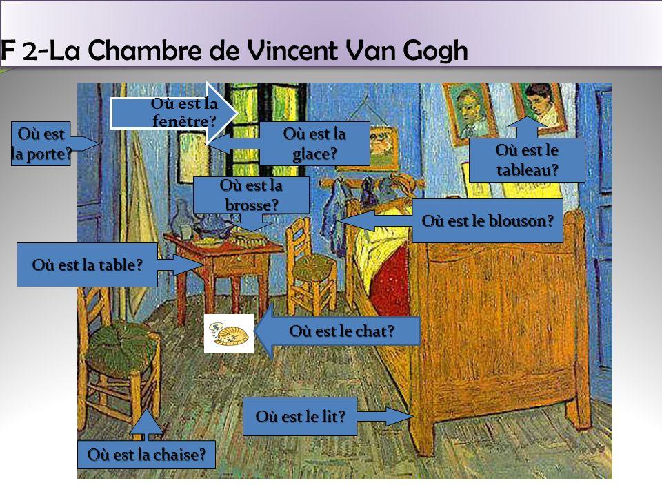 F 2-La Chambre de Vincent Van Gogh Où est le lit? Où est la table? Où est la porte? Où est la glace? Où est la chaise? Où est le blouson? Où est le ta