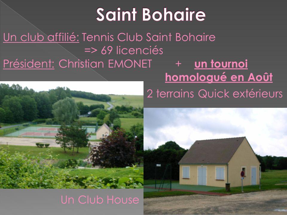Un club affilié: Tennis Club Saint Bohaire => 69 licenciés Président: Christian EMONET+ un tournoi homologué en Août 2 terrains Quick extérieurs Un Cl