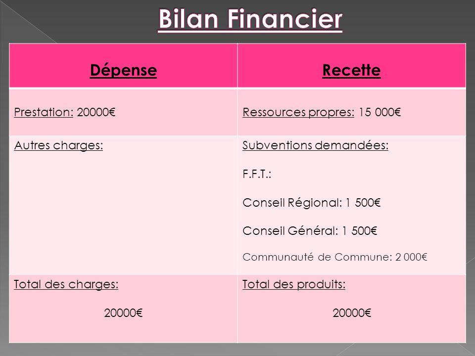 DépenseRecette Prestation: 20000Ressources propres: 15 000 Autres charges:Subventions demandées: F.F.T.: Conseil Régional: 1 500 Conseil Général: 1 50