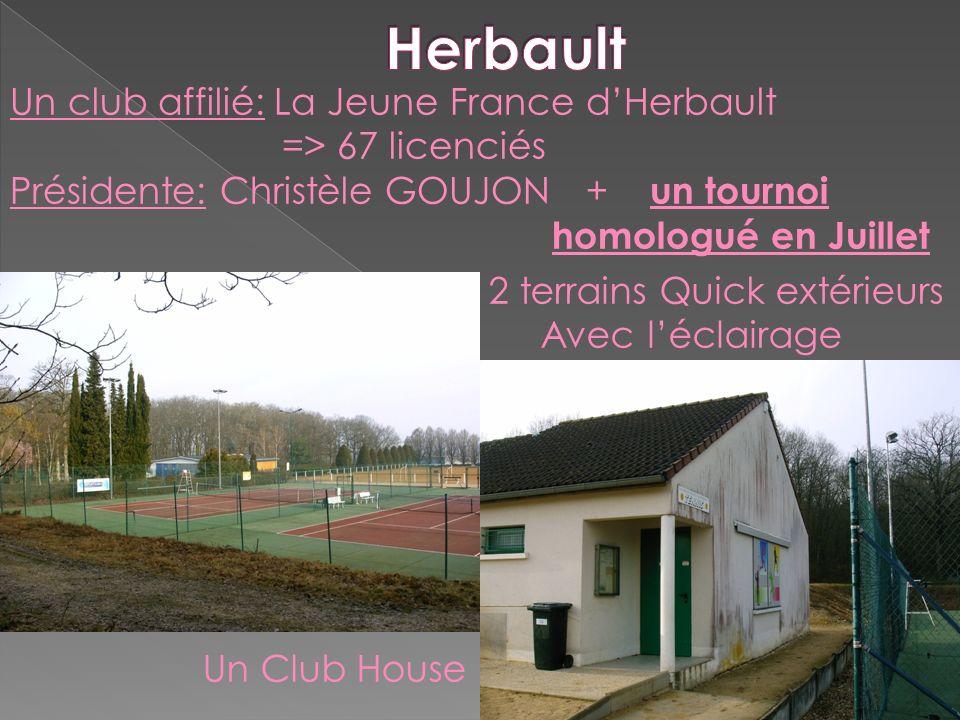 Un club affilié: La Jeune France dHerbault => 67 licenciés Présidente: Christèle GOUJON + un tournoi homologué en Juillet 2 terrains Quick extérieurs