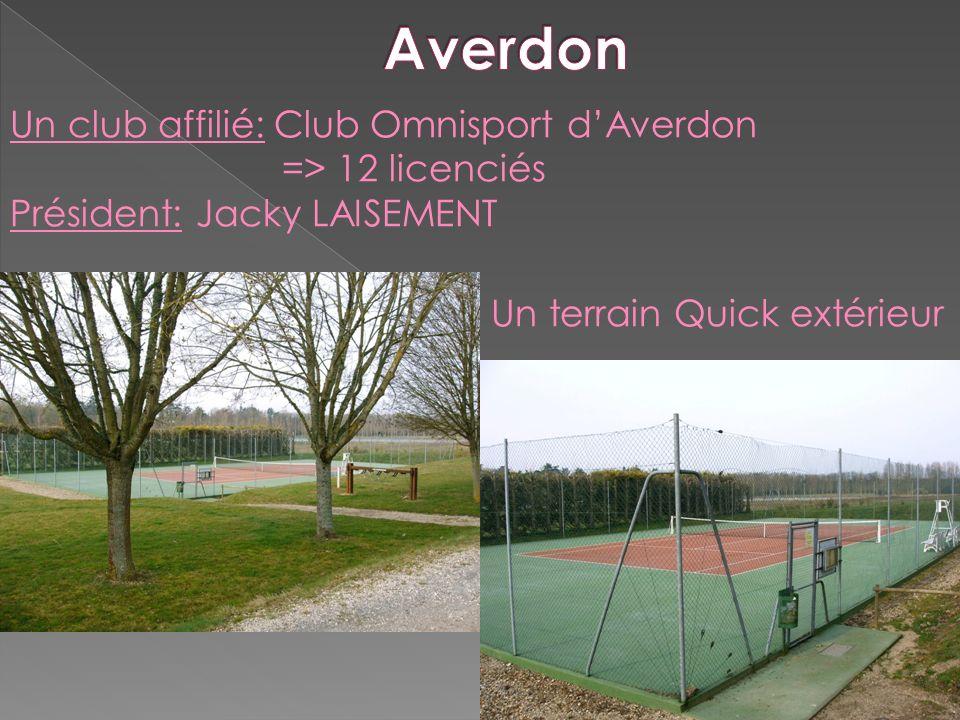 Un club affilié: Club Omnisport dAverdon => 12 licenciés Président: Jacky LAISEMENT Un terrain Quick extérieur