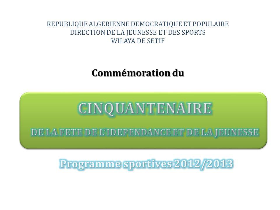 REPUBLIQUE ALGERIENNE DEMOCRATIQUE ET POPULAIRE DIRECTION DE LA JEUNESSE ET DES SPORTS WILAYA DE SETIF Commémoration du