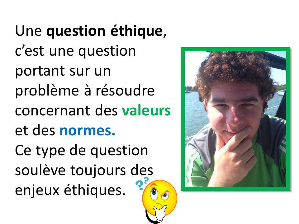 Une question éthique, cest une question portant sur un problème à résoudre concernant des valeurs et des normes. Ce type de question soulève toujours