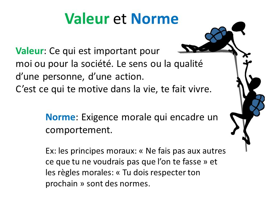 Valeur et Norme Valeur: Ce qui est important pour moi ou pour la société. Le sens ou la qualité dune personne, dune action. Cest ce qui te motive dans