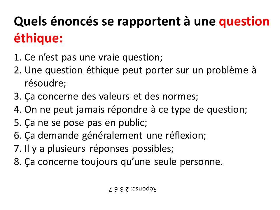 Quels énoncés se rapportent à une question éthique: 1.Ce nest pas une vraie question; 2.Une question éthique peut porter sur un problème à résoudre; 3