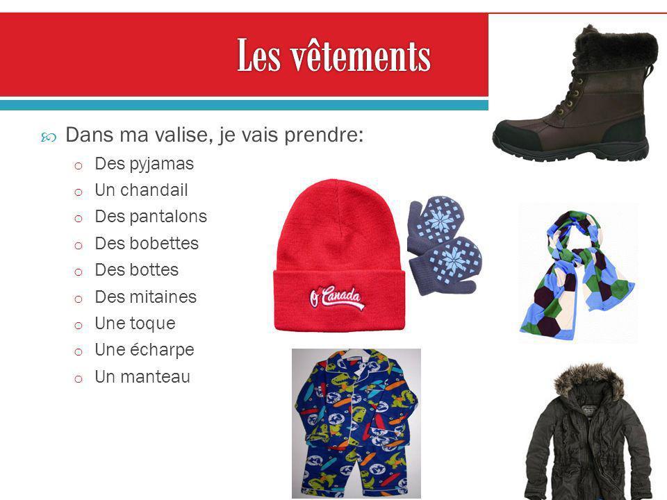 Dans ma valise, je vais prendre: o Des pyjamas o Un chandail o Des pantalons o Des bobettes o Des bottes o Des mitaines o Une toque o Une écharpe o Un manteau