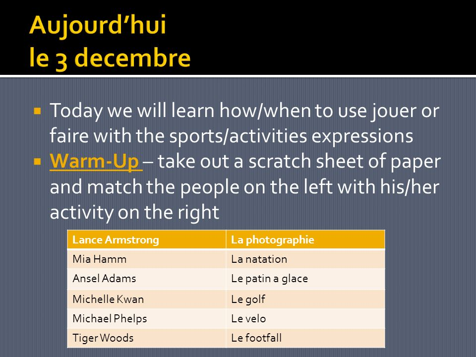Today we will learn how/when to use jouer or faire with the sports/activities expressions Warm-Up – take out a scratch sheet of paper and match the people on the left with his/her activity on the right Lance ArmstrongLa photographie Mia HammLa natation Ansel AdamsLe patin a glace Michelle KwanLe golf Michael PhelpsLe velo Tiger WoodsLe footfall
