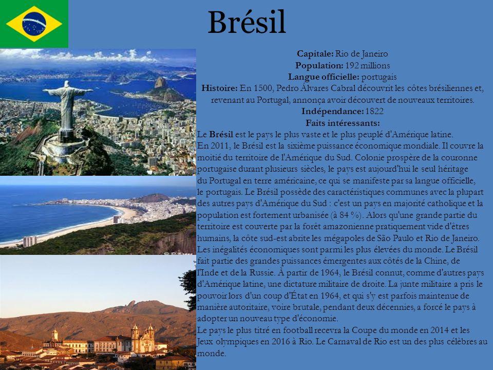 Brésil Capitale: Rio de Janeiro Population: 192 millions Langue officielle: portugais Histoire: En 1500, Pedro Álvares Cabral découvrit les côtes brés