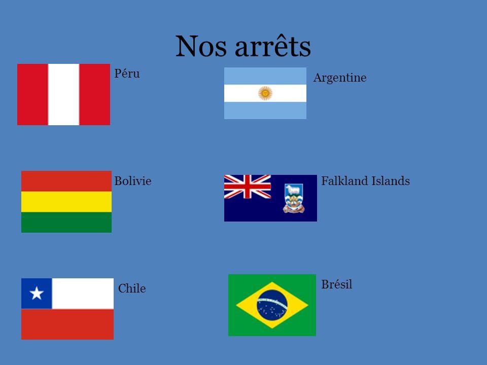 Nos arrêts Péru Bolivie Chile Argentine Falkland Islands Brésil