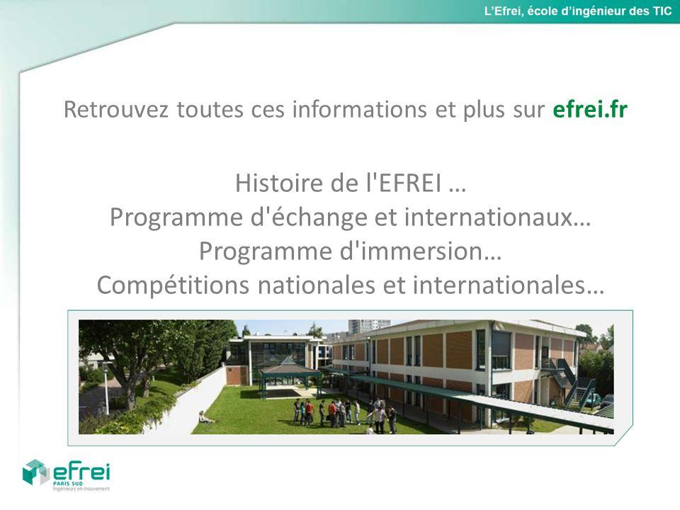 Retrouvez toutes ces informations et plus sur efrei.fr Histoire de l'EFREI … Programme d'échange et internationaux… Programme d'immersion… Compétition