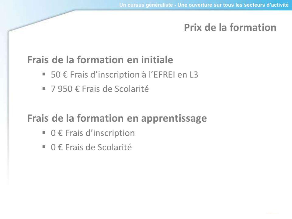 Prix de la formation Frais de la formation en initiale 50 Frais dinscription à lEFREI en L3 7 950 Frais de Scolarité Frais de la formation en apprenti