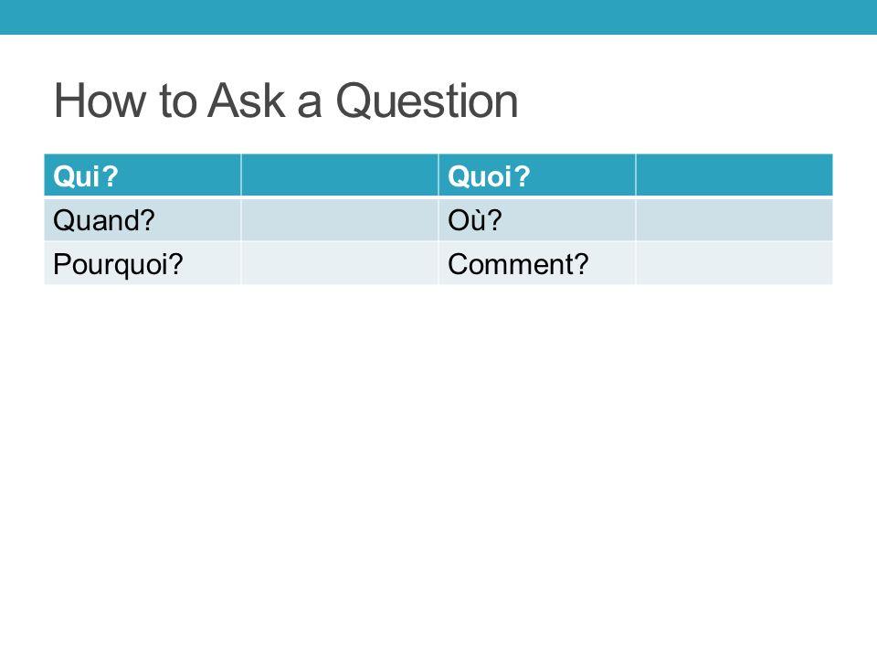 How to Ask a Question Qui Quoi Quand Où Pourquoi Comment