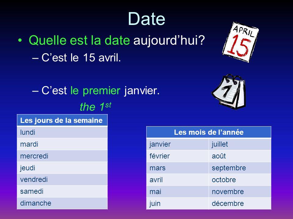 Date Quelle est la date aujourdhui. –Cest le 15 avril.