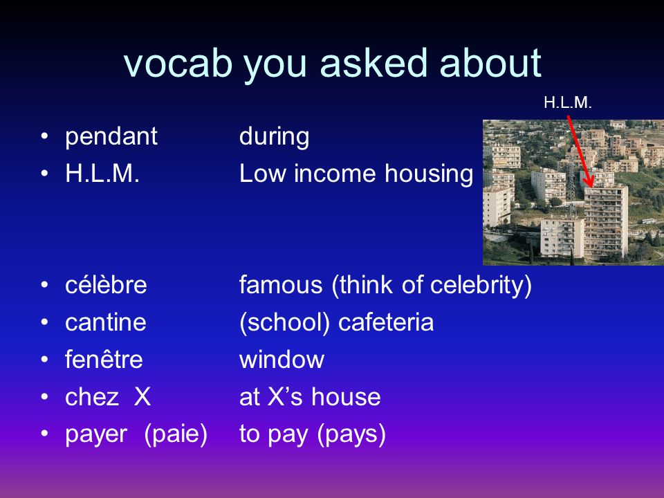 vocab you asked about pendant during H.L.M.Low income housing célèbrefamous (think of celebrity) cantine(school) cafeteria fenêtrewindow chez Xat Xs house payer (paie)to pay (pays) H.L.M.