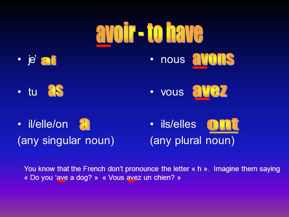 j tu il/elle/on (any singular noun) nous vous ils/elles (any plural noun) e You know that the French dont pronounce the letter « h ».