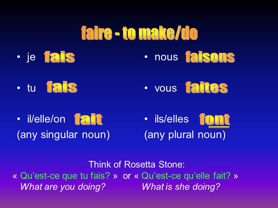 Idioms with faire Faire + a class = –To take a class Faire + weather –To be … Faire in math –Equals Je fais du français.