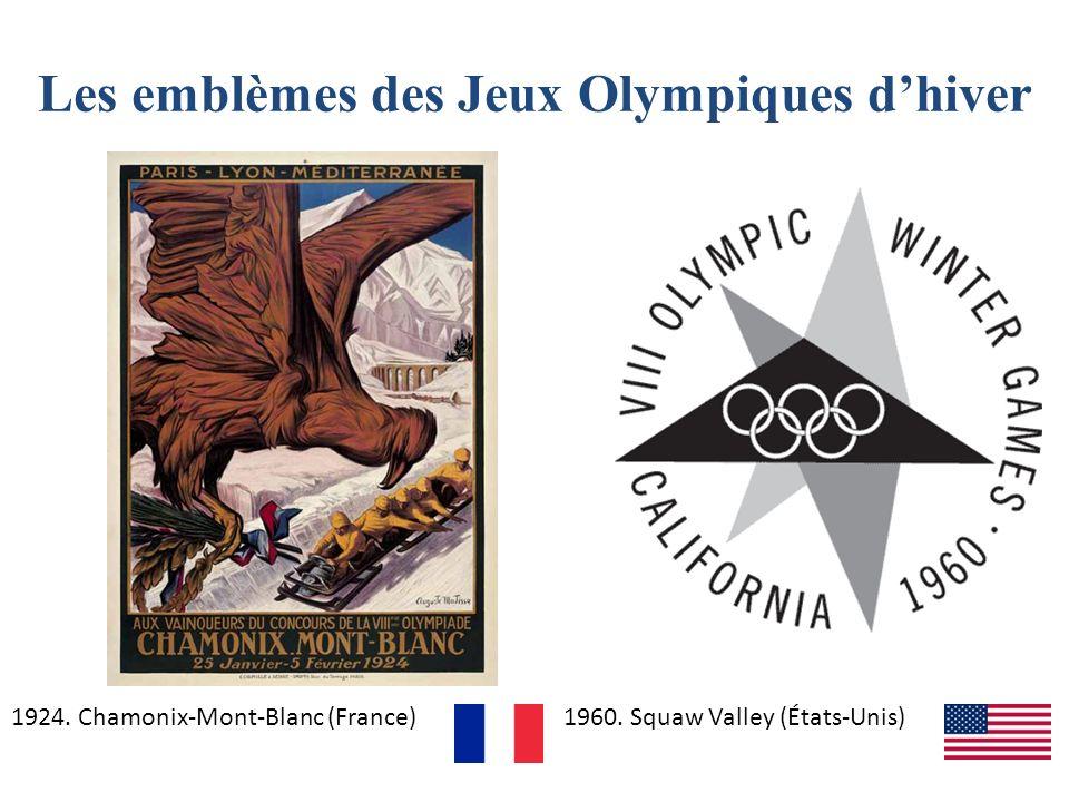 Les emblèmes des Jeux Olympiques dhiver 1924. Chamonix-Mont-Blanc (France)1960. Squaw Valley (États-Unis)
