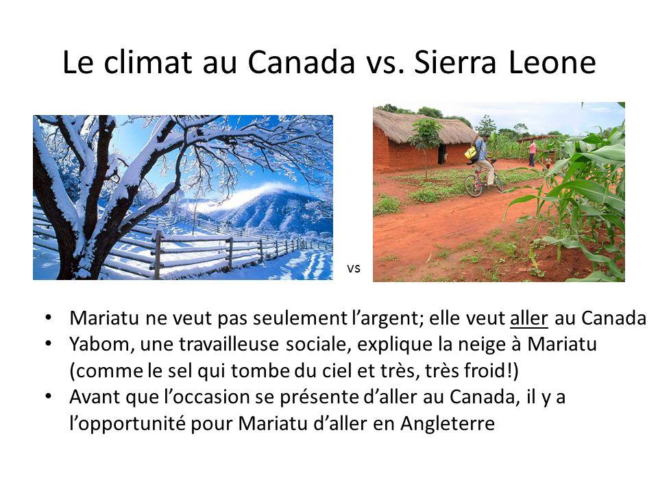 Le climat au Canada vs.