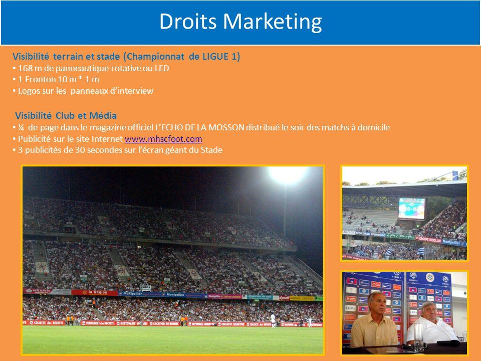 Visibilité terrain et stade (Championnat de LIGUE 1) 168 m de panneautique rotative ou LED 1 Fronton 10 m * 1 m Logos sur les panneaux dinterview Visi