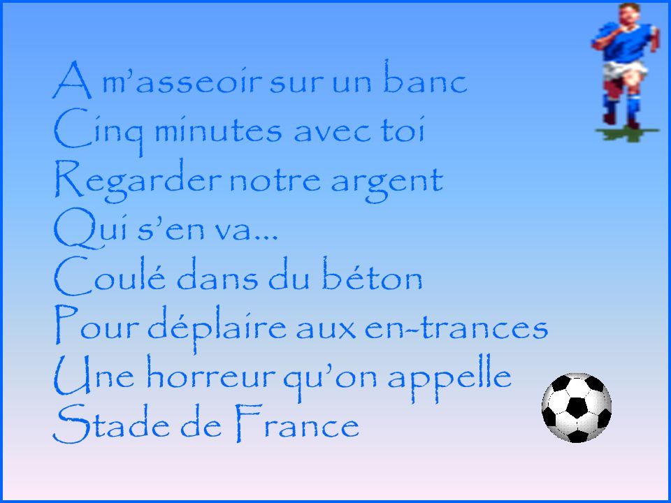 « Le Football Gagnant » de Laurent Gerra Parodie de Renaud « Le Mistral Gagnant »