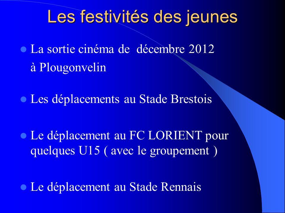 Les festivités des jeunes La sortie cinéma de décembre 2012 à Plougonvelin Les déplacements au Stade Brestois Le déplacement au FC LORIENT pour quelques U15 ( avec le groupement ) Le déplacement au Stade Rennais