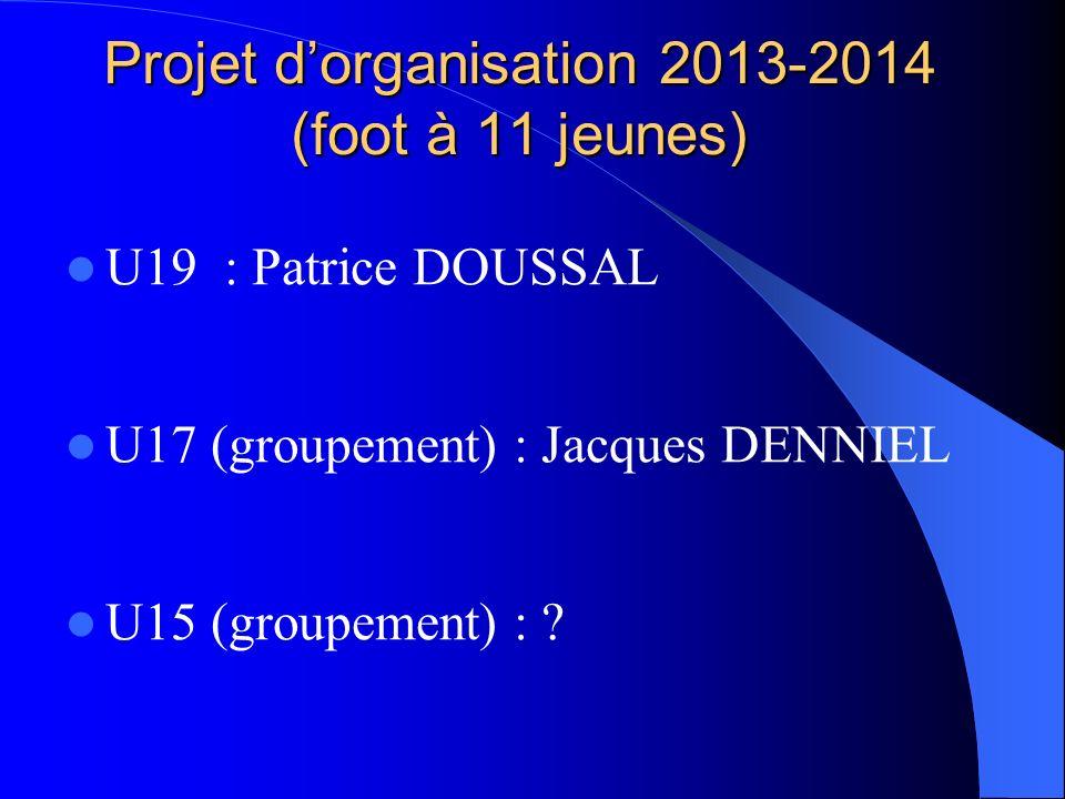 Projet dorganisation 2013-2014 (foot à 11 jeunes) U19 : Patrice DOUSSAL U17 (groupement) : Jacques DENNIEL U15 (groupement) : ?