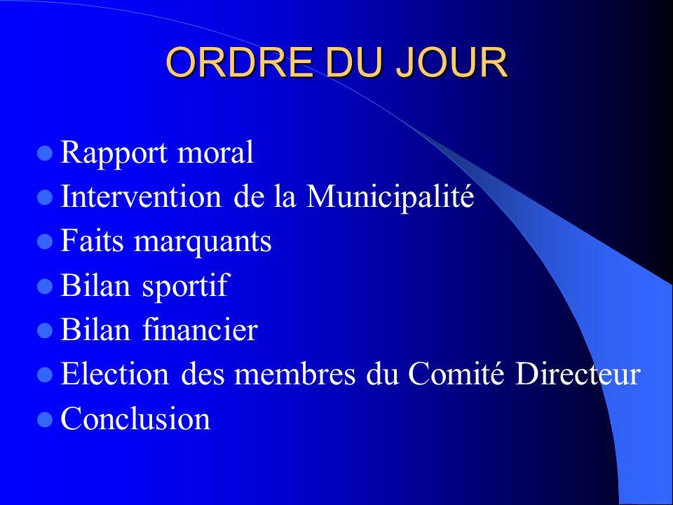 ORDRE DU JOUR Rapport moral Intervention de la Municipalité Faits marquants Bilan sportif Bilan financier Election des membres du Comité Directeur Conclusion