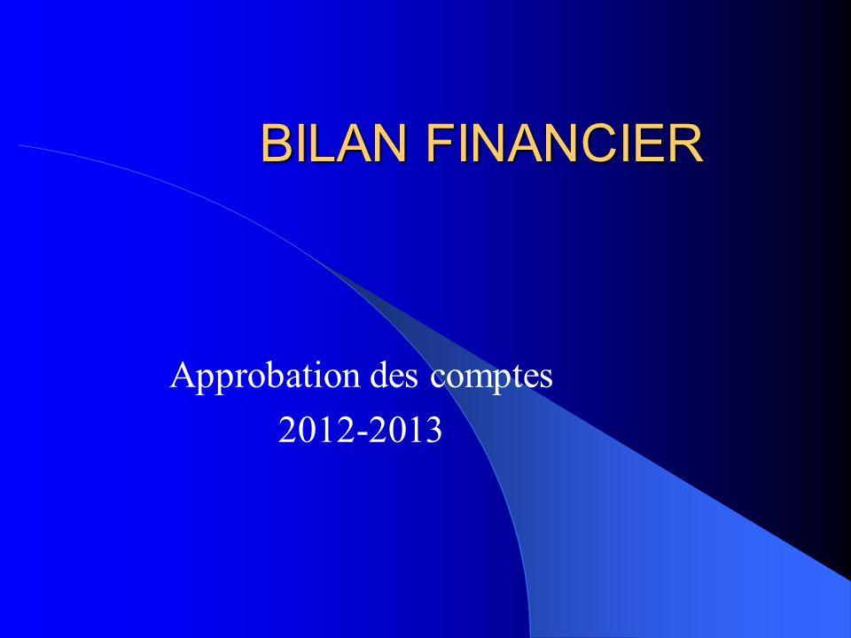 BILAN FINANCIER Approbation des comptes 2012-2013