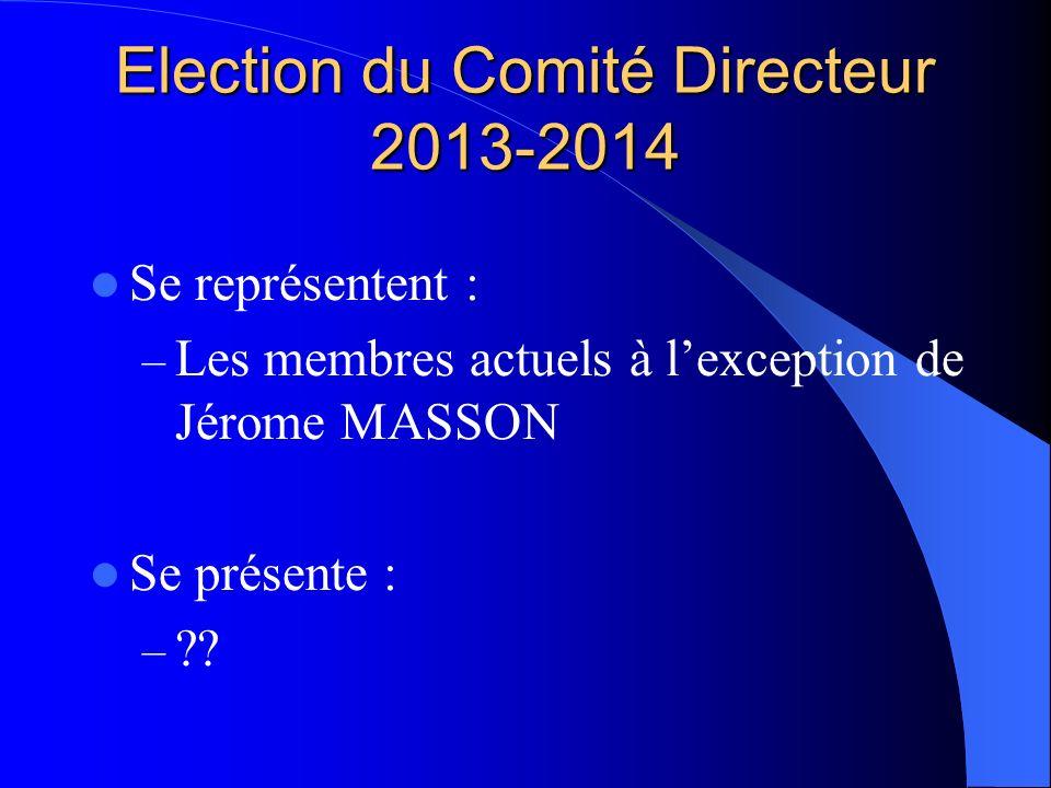 Election du Comité Directeur 2013-2014 Se représentent : – Les membres actuels à lexception de Jérome MASSON Se présente : – ??
