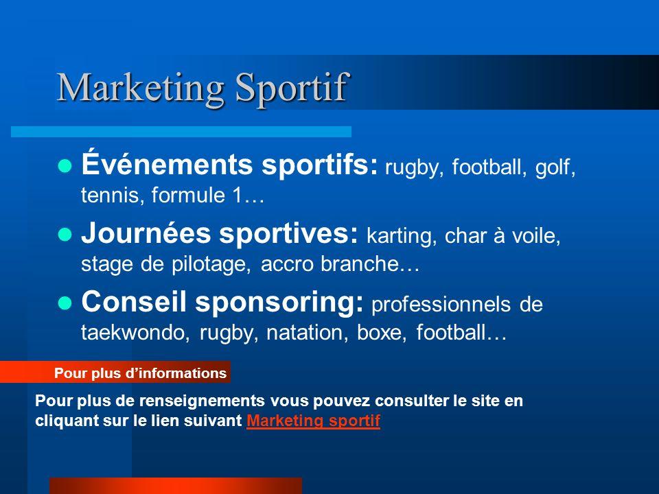 Marketing Sportif Événements sportifs: rugby, football, golf, tennis, formule 1… Journées sportives: karting, char à voile, stage de pilotage, accro b