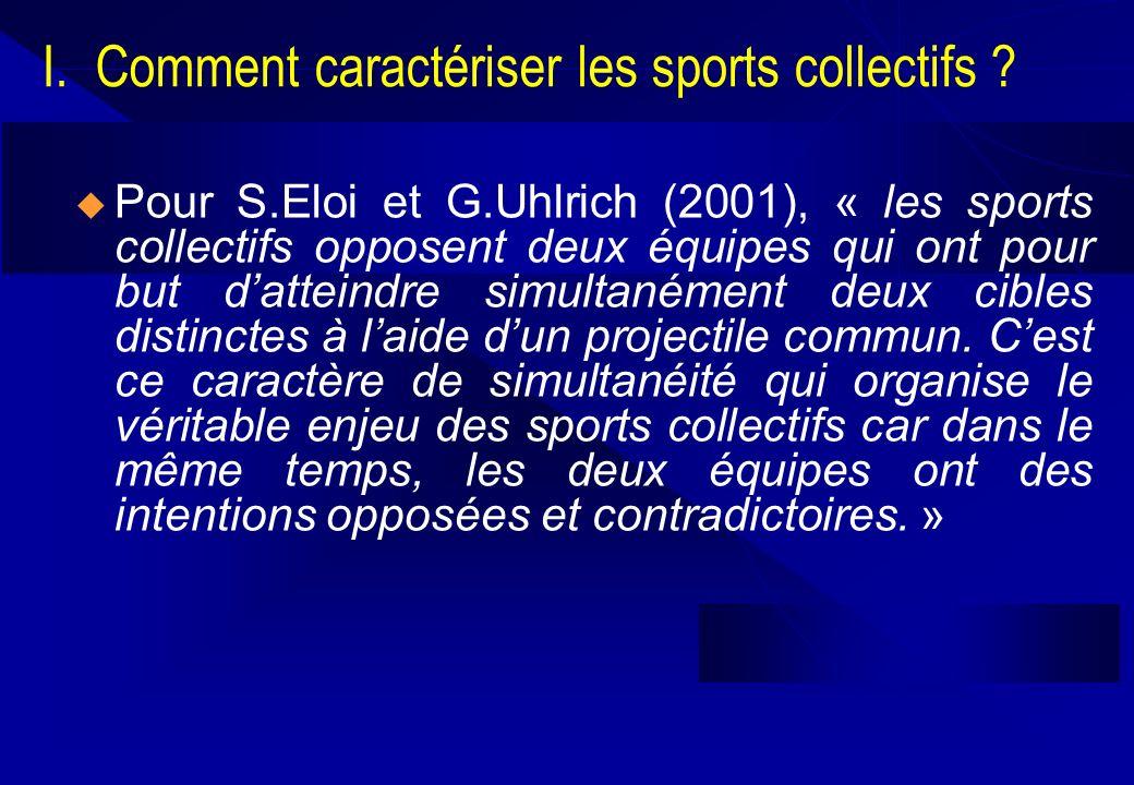 I. Comment caractériser les sports collectifs ? Pour S.Eloi et G.Uhlrich (2001), « les sports collectifs opposent deux équipes qui ont pour but dattei