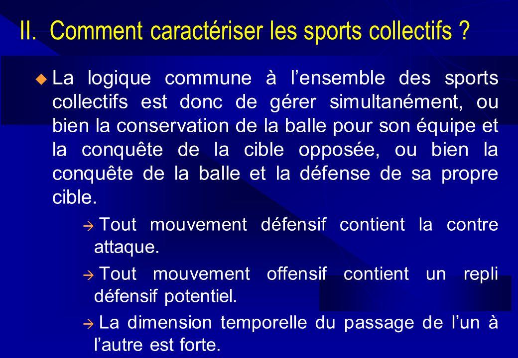 II. Comment caractériser les sports collectifs ? La logique commune à lensemble des sports collectifs est donc de gérer simultanément, ou bien la cons
