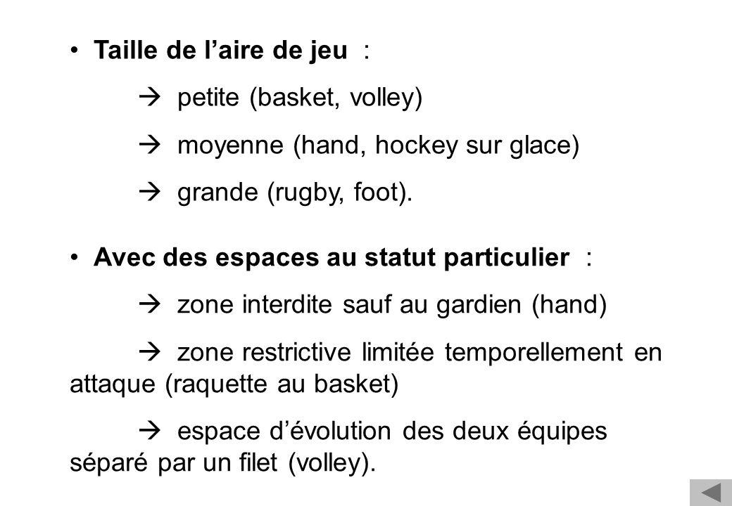 Taille de laire de jeu : petite (basket, volley) moyenne (hand, hockey sur glace) grande (rugby, foot). Avec des espaces au statut particulier : zone