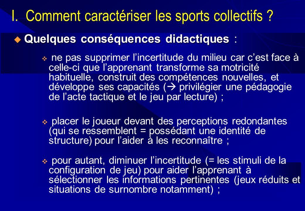 I. Comment caractériser les sports collectifs ? Quelques conséquences didactiques Quelques conséquences didactiques : ne pas supprimer lincertitude du