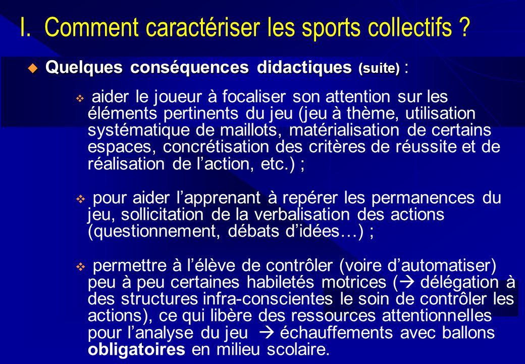 I. Comment caractériser les sports collectifs ? Quelques conséquences didactiques (suite) Quelques conséquences didactiques (suite) : aider le joueur