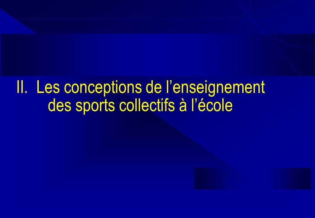 II. Les conceptions de lenseignement des sports collectifs à lécole