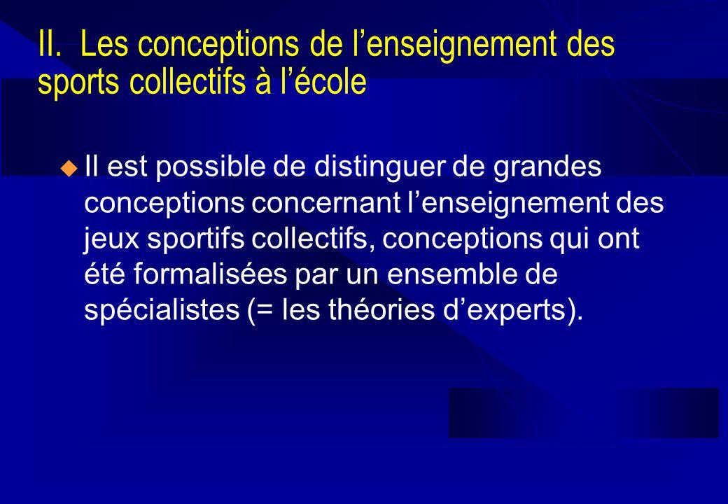 Il est possible de distinguer de grandes conceptions concernant lenseignement des jeux sportifs collectifs, conceptions qui ont été formalisées par un