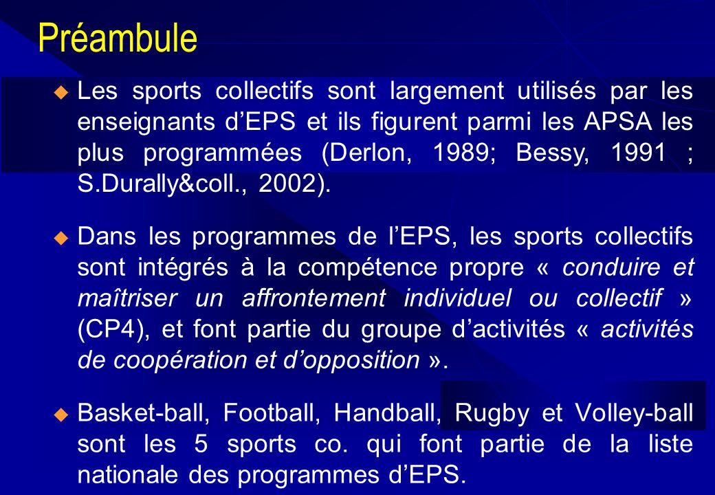 Préambule Dans les programmes de lEPS, les sports collectifs sont intégrés à la compétence propre « conduire et maîtriser un affrontement individuel o
