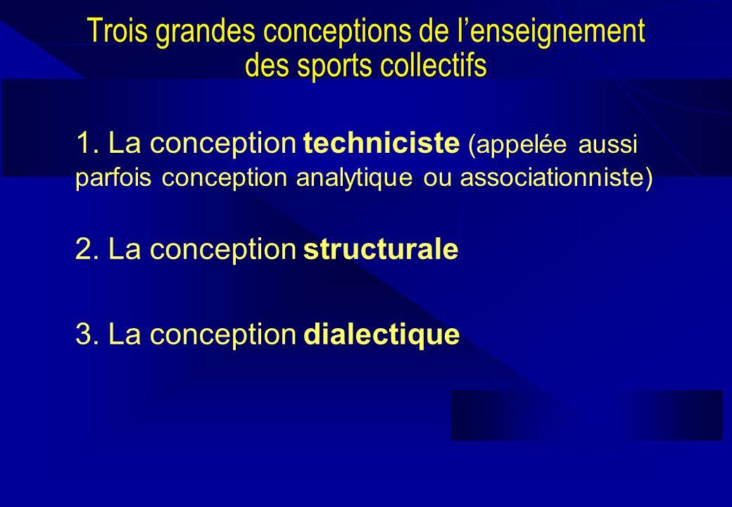 Trois grandes conceptions de lenseignement des sports collectifs 1. La conception techniciste (appelée aussi parfois conception analytique ou associat