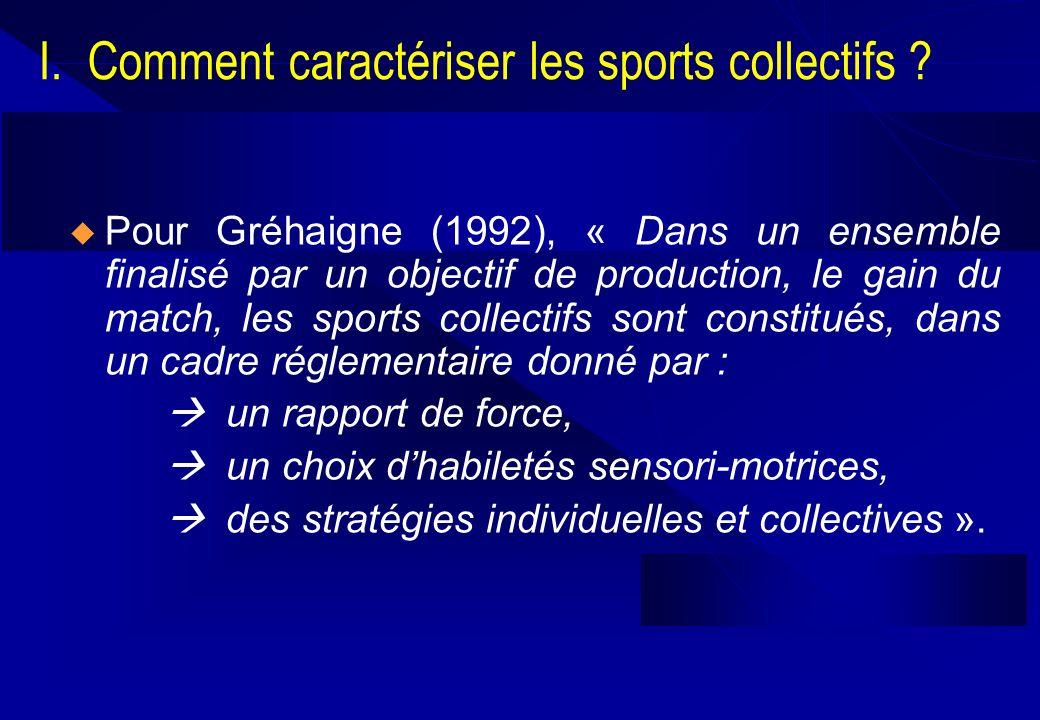Pour Gréhaigne (1992), « Dans un ensemble finalisé par un objectif de production, le gain du match, les sports collectifs sont constitués, dans un cad