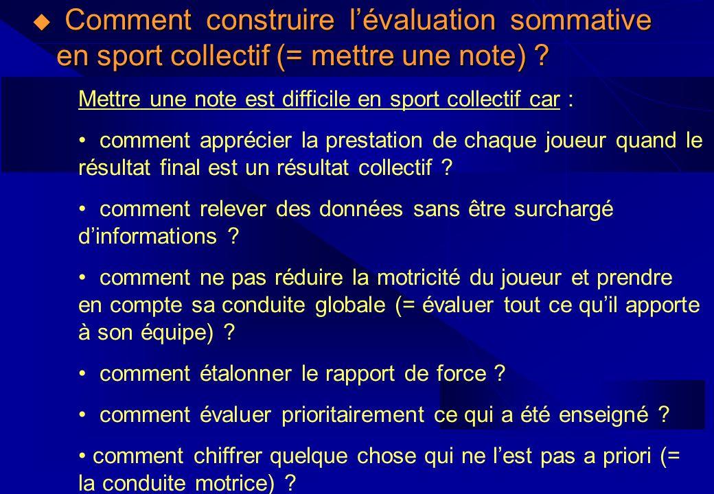 Comment construire lévaluation sommative en sport collectif (= mettre une note) ? Comment construire lévaluation sommative en sport collectif (= mettr